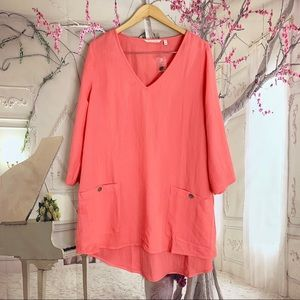 Soft Surroundings Womens Coral Sojourn Tunic